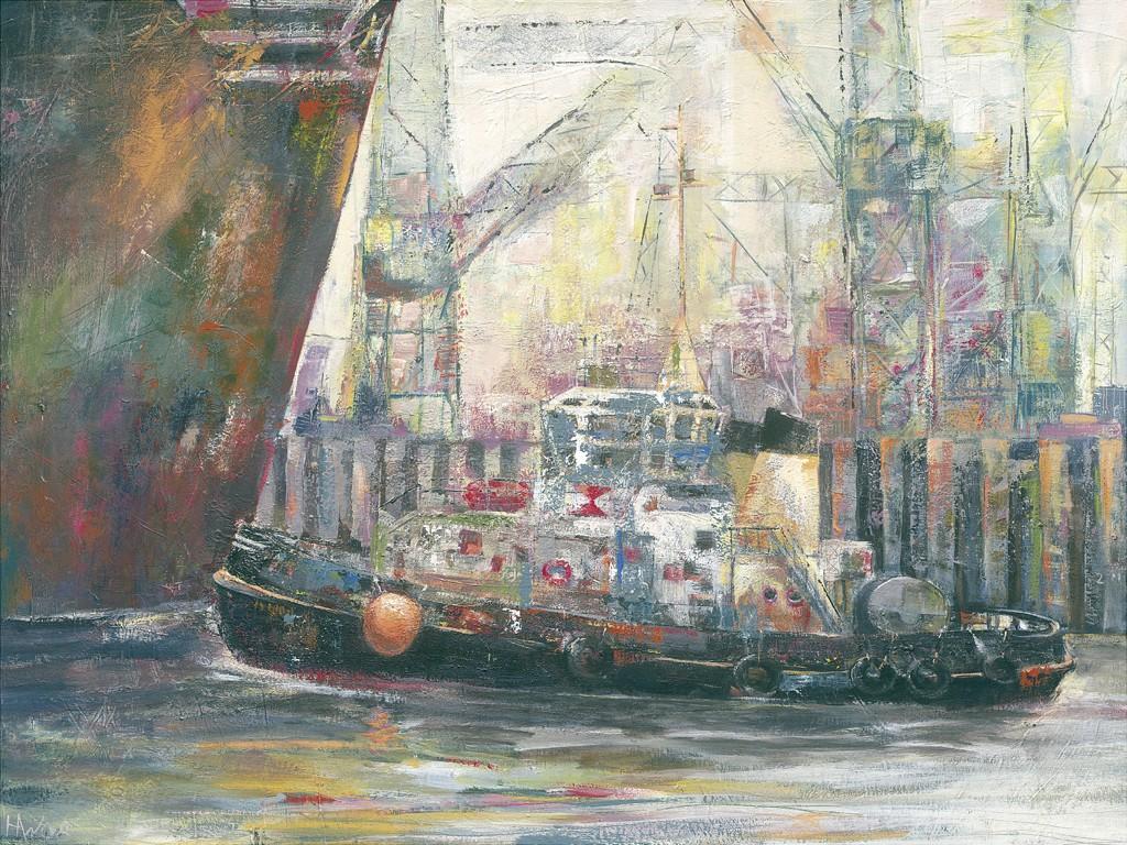 Helma Wolff, Schlepper I (Hamburg, Boot, Schiff, Schlepper, Hafen, moderne Malerei, zeitgenössische Malerei, Abstraktion, Wohnzimmer, Büro, bunt)
