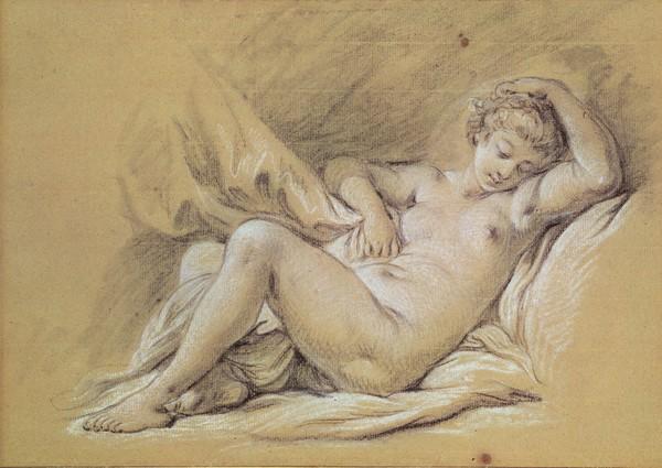 Francois Boucher, Nude Woman on a Bed (charcoal & white chalk on paper) (Mädchen, junge Frau, Schlafende, nackt, Erotik, Rokoko, Skizze, Zeichnung, Klassiker, Wunschgröße, Wohnzimmer, Schlafzimmer, bunt)