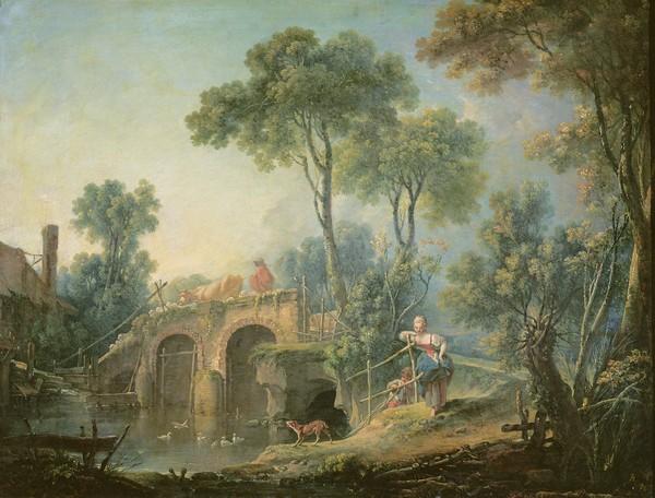 Francois Boucher, The Bridge, 1761 (oil on canvas) (Brücke, Ruine, ländlich, bäuerlich, Genre, idealisiert, Idylle,  Landschaft, Rokoko, Malerei, Klassiker, Wunschgröße, Wohnzimmer, Schlafzimmer, bunt)
