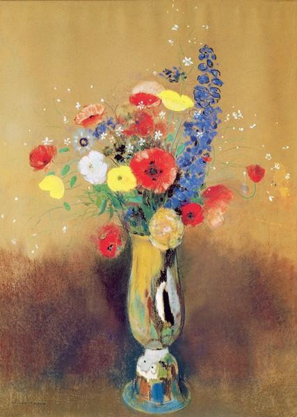 Odilon Redon, Wild flowers in a Long-necked Vase, c.1912 (pastel on paper) (Postimpressionismus, Stillleben, Blumenvase, Blüten, Blumen, Sommerblumen, floral, Klassiker, Malerei, Wohnzimmer, Esszimmer, Treppenhaus, Wunschgröße, bunt)