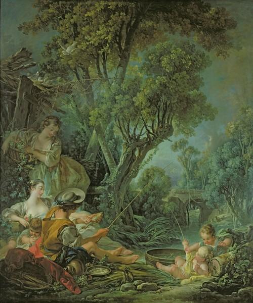 Francois Boucher, The Angler, 1759 (oil on canvas) (Angler, Fischer, ländlich, bäuerlich, Genre, idealisiert, Idylle,  Landschaft, Rokoko, Malerei, Klassiker, Wunschgröße, Wohnzimmer, Schlafzimmer, bunt)