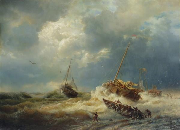 Andreas Achenbach, Ships in a Storm on the Dutch Coast, 1854 (oil on canvas) (Seestück, Meer, Wellen, Segelboote, Unwetter, stürmisch, Meeresbrise, Küste, Dänemark, Malerei, Wunschgröße, Wohnzimmer, bunt)