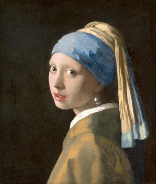 Jan Vermeer, Girl with a Pearl Earring, c.1665-6 (oil on canvas) (Malerei, Portrait, Mädchen mit den Perlohrringen, Barock, goldenes Zeitalter, klassische Malerei, Wohnzimmer, Schlafzimmer, Wunschgröße,  bunt)