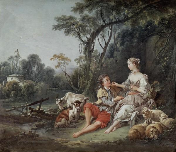"""Francois Boucher, """"""""""""""""""""""""Pense-t-il aux raisins?"""""""""""""""", 1747 (oil on canvas)"""""""""""""""" (Schäferstündchen, Paar, Pastorale, Schafe, Trauben,  ländlich, bäuerlich, Genre, idealisiert, Idylle,  Landschaft, Rokoko, Malerei, Klassiker, Wunschgröße, Wohnzimmer, Schlafzimmer, bunt)"""