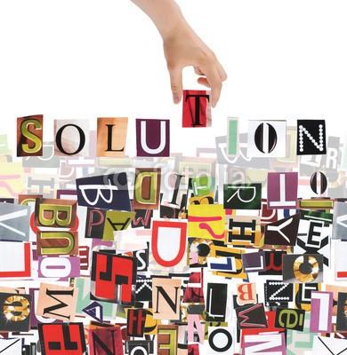 aborisov, Hand and word Solution isolated on white background (Wunschgröße, Fotokunst, Motivationsbild, Lösung, Chaos, Wirrwarr, Konzept, Kreativität, Inspiration, Ordnung, Büro, bunt)