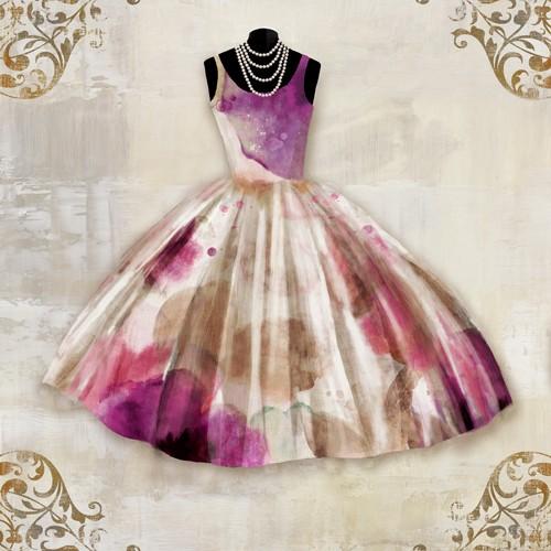 Aimee Wilson, 5th Avenue Salon (Kleid, Abendkleid, Ballkleid, Glamour, Mode, Eleganz, Blumenmuster, floral, Wunschgröße, Malerei, Ankleidezimmer, Schlafzimmer, Boutique, lila/beige)
