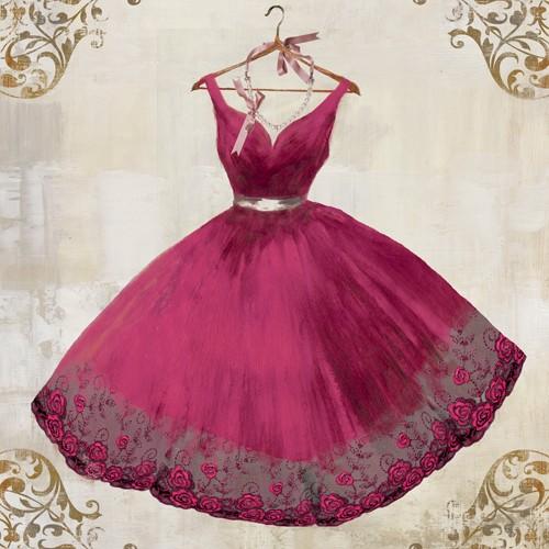 Aimee Wilson, Magnificent (Kleid, Abendkleid, Ballkleid, Glamour, Mode, Eleganz, Ornamente, Bordüre, Wunschgröße, Malerei, Ankleidezimmer, Schlafzimmer, Boutique, pink)