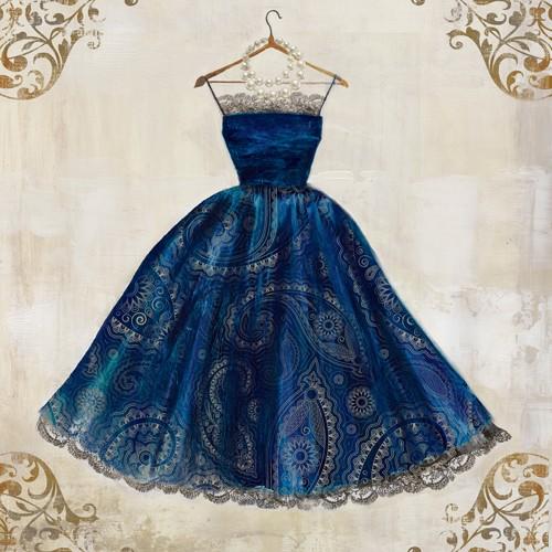 Aimee Wilson, Stunning (Kleid, Abendkleid, Ballkleid, Glamour, Mode, Eleganz, Ornamente, Wunschgröße, Malerei, Ankleidezimmer, Schlafzimmer, Boutique, blau/silber)