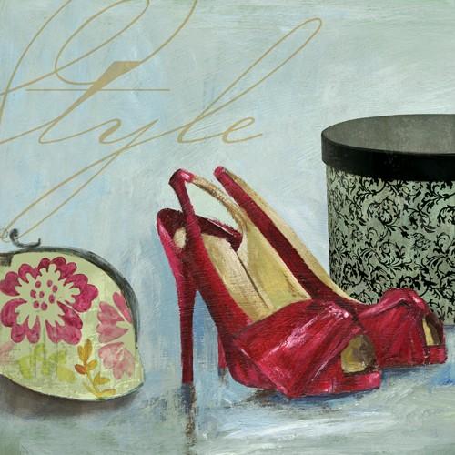 Aimee Wilson, Style (Schuhe, Pumps, High Heels, Schminktäschchen, Börse,, Schachtel, Chic, Mode, Eleganz,  Wunschgröße, Malerei, Wohnzimmer, Ankleidezimmer, Boutique, bunt)