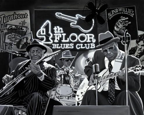 Alain Bertrand, Blues Trio (Musiker, Combo, Trio, Jazz, Blues, cool, Jugendzimmer, Wohnzimmer, Treppenhaus, Wunschgröße, schwarz/weiß)