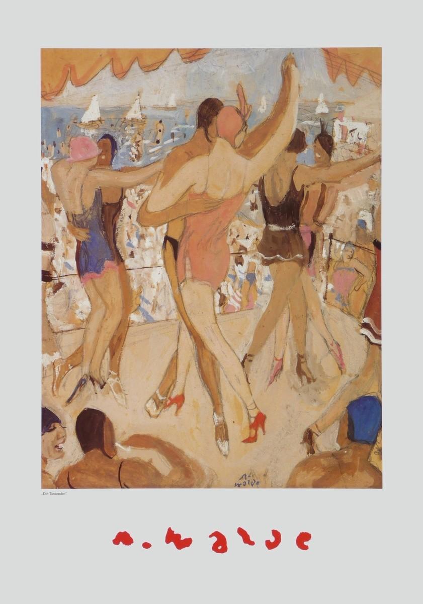 Alfons Walde, Die Tanzenden (Strandparty, Menschen, Tanz, Tanzende, Sommer, Urlaub, Vergnügen, klassische Moderne, Segelboote, Secessionismus, Wohnzimmer, bunt, Malerei)