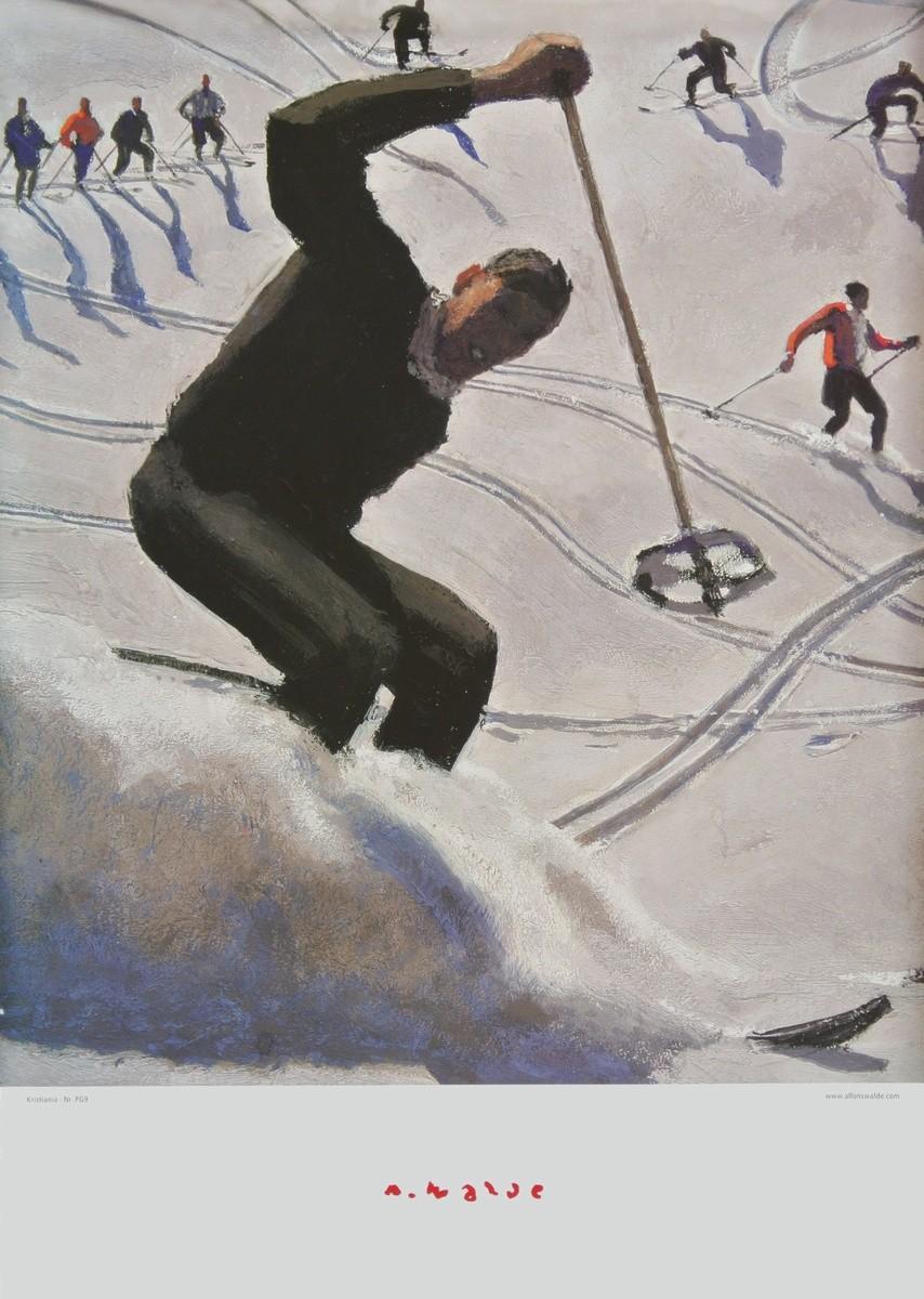 Alfons Walde, Kristiania - Der Schwung (groß) (Skifahrer, Wintersport, Schnee, historisch, Winterlandschaft, Sonnenlicht, Secessionismus, klassische Moderne, Wohnzimmer, Treppenhaus, Malerei, bunt)