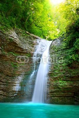 Anatoly Tiplyashin, waterfall (asien, schön, blau, ruhe, daunen, drops, element, umwelt, wald, gefroren, grün, Fröhlichkeit, freudig, urwald, landschaft, lieblich, see, natur, einträchtig, pool, pure, ausspannend, fluß, fels, szene, glatt, platsch, steine, strömen, tranquil, reis)