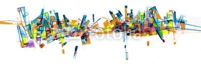 arsdigital, Abstract city skyline painting (abstrakt, architektur, bilder, gestaltet, malerei, abbildung, hintergrund, weiß, gelb, blau, orange, rot, modern, malerei, malen, stadt, gebäude, linie, skyline, konstruktion, element, erscheinung, geometrisch, geometrie, öl, gemälde, kunst, male)