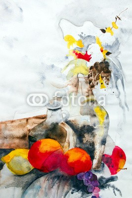 arsdigital, Stilleben (wasserfarben, malerei, bilder, malerei, stilleben, blume, natur, obst, vase, wasserfarben, kunst, malen, abstrakt, gestaltet, papier, phantasie, reproduktion, spannun)