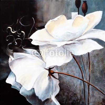 arsdigital, Weisse Blumen (malerei, rose, weiß, bilder, kunst, malen, artwork, abbildung, classic, modern, blume, textur, textur, handwerk, reproduktion, malen, ölfarbe, hintergrund, hübsch, schönheit, anmu)