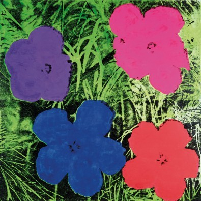 Andy Warhol, Flowers C. 1984 (Klassische Moderne, Amerikanische Kunst, Pop Art, Pflanzen, Blumen, Blüten, Wohnzimmer, Business, Arztpraxis, Büro, bunt)