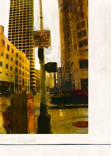 Ayline Olukman, Curb Lane Must (Fotokunst, Kult, Pop, Vintage, Gebäude, Architektur, Hochhäuser, Straße, modern, Jugendzimmer, Wohnzimmer, Wunschgröße, bunt)