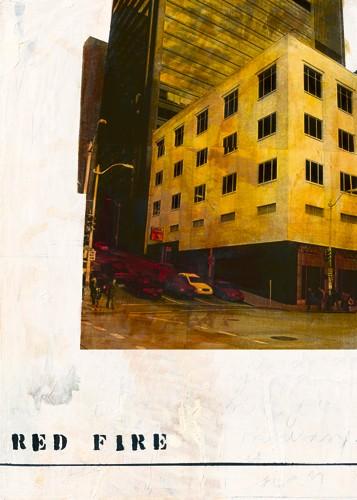 Ayline Olukman, Red Fire (Fotokunst, Kult, Pop, Vintage, Gebäude, Architektur, Hochhäuser, Straße, modern, Jugendzimmer, Wohnzimmer, Wunschgröße, bunt)