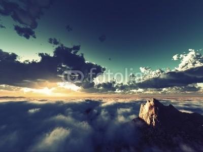 B@rmaley, beautiful view above clouds (Wunschgröße, Photografie, Fotografie, Fotokunst, Natur, Luftaufnahme, Wolken, Berge, Gipfel, Landschaftsfotografie, Sonne, Sonnenlicht, Sonnenstrahlen, Wohnzimmer, Wellness, blau / grau)