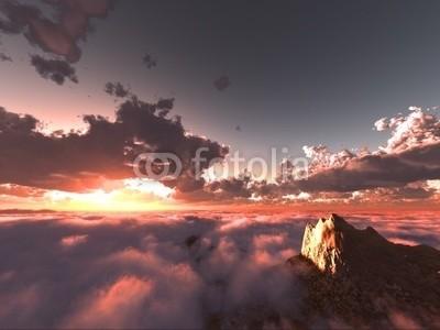 B@rmaley, beautiful view above clouds (Wunschgröße, Photografie, Fotografie, Fotokunst, Natur, Luftaufnahme, Wolken, Berge, Gipfel, Landschaftsfotografie, Sonne, Sonnenlicht, Sonnenstrahlen, Wohnzimmer, Wellness, rosa / grau)