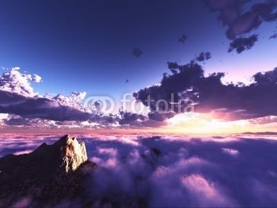 B@rmaley, beautiful view above clouds (Wunschgröße, Photografie, Fotografie, Fotokunst, Natur, Luftaufnahme, Wolken, Berge, Gipfel, Landschaftsfotografie, Sonne, Sonnenlicht, Sonnenstrahlen, Wohnzimmer, Wellness, blau / violett)