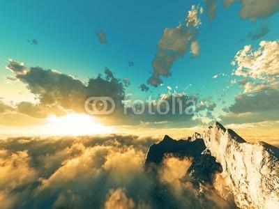 B@rmaley, beautiful view above clouds (Wunschgröße, Photografie, Fotografie, Fotokunst, Natur, Luftaufnahme, Wolken, Berge, Gipfel, Landschaftsfotografie, Sonne, Sonnenlicht, Sonnenstrahlen, Wohnzimmer, Wellness, bunt)