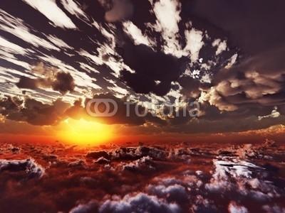 B@rmaley, evening view above clouds (Wunschgröße, Photografie, Fotografie, Fotokunst, Natur, Luftaufnahme, Wolken, Berge, Gipfel, Landschaftsfotografie, Sonne, Sonnenlicht, Sonnenstrahlen, Wohnzimmer, Büro, Business, bunt)
