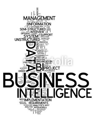Ben Chams, Word Cloud Business Intelligence (Wunschgröße, Fotokunst, Grafik, Worte, Wolke, Intelligenz, Gitter, Raster, Motivation, Modernität, Büro, Business, grau, blau)