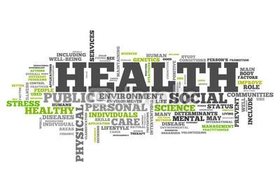 Ben Chams, Word Cloud Health (Wunschgröße, Fotokunst, Grafik, Worte, Wolke, Intelligenz, Gitter, Raster, Motivation, Gesundheit, Modernität, Büro, Business, grün, blau)