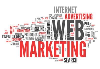 Ben Chams, Word Cloud Web Marketing (Wunschgröße, Fotokunst, Grafik, Worte, Wolke, Intelligenz, Gitter, Raster, Motivation, Modernität, Büro, Business, grau, rot)