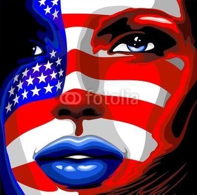 bluedarkat, Usa Flag on Girl's Portrait-Bandiera Stati Uniti su Viso Donna (uns, uns, states, fahne, stars and stripes, blau, rot, honour, stolz, unabhängigkeitstag, stolz, staat, nation, verfassung, erklärungen, urlaub, vierter, special, feier, feiern, parade, party, symbol, symbolisch, gelegenheit, gesicht, portrait, mädche)
