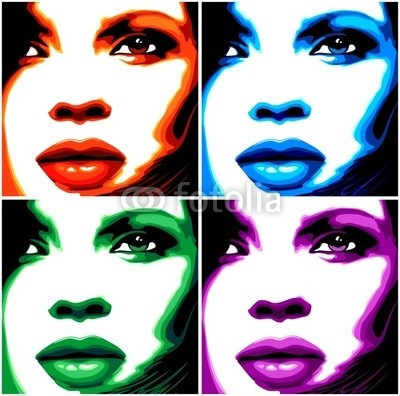bluedarkat, Viso Donna Pop Art-4 Colori-Stylized Woman Girl's Face -Vector (Wunschgröße, Fotokunst, Modern, Pop Art, Reproduktion, Frau, Portrait, vier Farben, Gesicht, Wohnzimmer, Jugendzimmer, bunt)