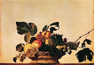 Michelangelo Caravaggio, Cesto di frutta (Stillleben, Obstkorb, Früchte,  Weintrauben, Esszimmer, Küche, Bistro, Malerei, Klassiker, Barock, bunt)