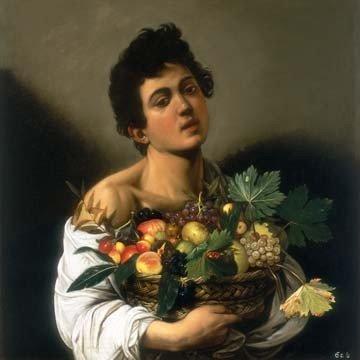 Michelangelo Caravaggio, Junger Mann mit Fruchtkorb (Junge, Jüngling, Obstkorb, Trauben, Bacchus, Früchte, Klassiker, Barock, Esszimmer, Wohnzimmer, Malerei, Wunschgröße, bunt)
