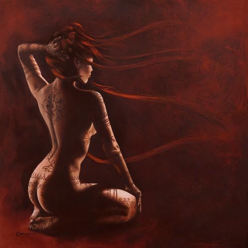 Alu-Dibond-Bild, Cédric Cazal, Henna II (Erotik, nackte Frau, Akt, Rückenakt, Körperbemalung, Henna, Schlafzimmer, Wohnzimmer, Figur und Akt, People&Eros, Malerei, rot,)