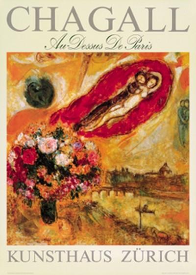 Marc Chagall, gerahmtes Bild, Au-Dessus de Paris (Plakatkunst, Malerei, fliegendes Paar, Liebespaar, Blumenstrauß, Ziegenbock, Symbolik,  Mysthik, Fluss, Brücke, Hintergrundlandschaft, Paris, moderne Klassiker, Wohnzimmer, Treppenhaus, bunt)
