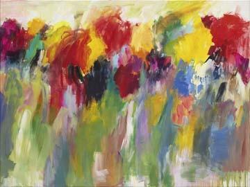 Christa Ohland, Farbklänge V (Blumen, Blüten, Blumenwiese, floral, Malerei, modern, Wohnzimmer, Treppenhaus, Esszimmer, Wunschgröße, bunt)