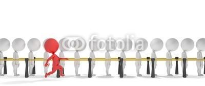 dampoint, 3d smart red man jumps the queue (Wunschgröße, Fotokunst, figurativ, Motivation, Psychologie, Psychotherapie, Optimismus, Warteschlange, Konformismus, Energie, sich abheben, Individualismus, anders sein, Mut, Überholspur,  Arztpraxis, weiß / rot)