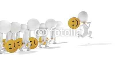 dampoint, 3d white motivated man is happiest of other (Wunschgröße, Fotokunst, figurativ, Motivation, Psychologie, Psychotherapie, Pessimismus, Optimismus, Smileys, Energie, Arztpraxis, weiß / gelb)