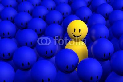 dampoint, 3d yellow man comes out from a blue crowd (Wunschgröße, Fotokunst, figurativ, Motivation, Psychologie, Psychotherapie, Optimismus, Smileys, Energie, sich erheben, sich abheben, Individualismus, anders sein, Mut,  Arztpraxis, blau / gelb)