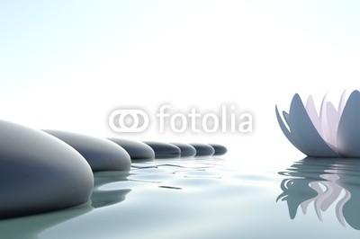 dampoint, Zen flower loto near stone (Wunschgröße, Fotografie, Photografie, Wasser, Steine, Kieselsteine, Yoga, Zen, Buddhismus, Weg, Blüte, Lotusblüte, Treiben lassen, Spiegelung, Konzentration, Meditation, Ruhe, Stille, Entspannung, Wellness, Badezimmer, Schlafzimmer, blau/ grau)