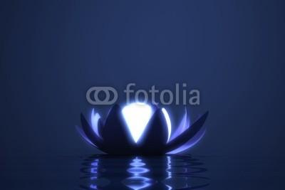 dampoint, Zen flower lotus with glowing sphere (Wunschgröße, Fotografie, Photografie, Wasser, Blüte, Lotus, Kugel, Leuchten, Erleuchtung, sich treiben lassen, Yoga, Licht, Nachtszene, Zen, Buddhismus, Entspannung, Meditation, Ruhe, Stille, Wellness, Badezimmer, Schlafzimmer, grau / blau)