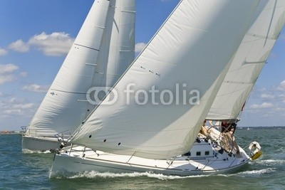 Darren Baker, Racing Yachts (yacht, rennsport, sailing, boot, segel, weiß, meer, ozean, regatta, segelboot, wind, windig, froh, sommer, spaß, crew, gespann, zusammenarbeit, schließen, wettbewerb, wettrenne)