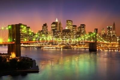 dell, Brooklyn bridge (Wunschgröße, Photografie, Fotografie, Metropole, Stadt, New York, Fluss, Nachtszene, Skyline, Beleuchtung, Spiegelungen, Büro, bunt)