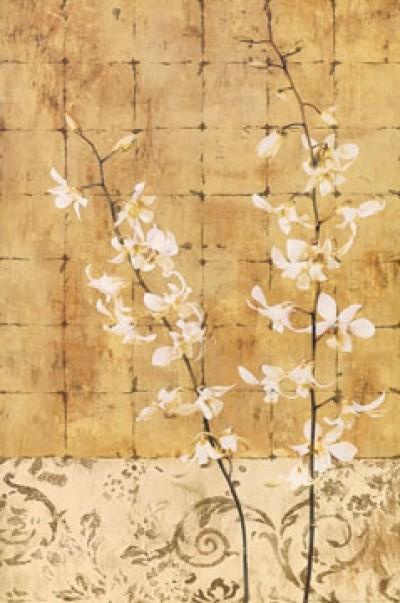 Chris Donovan, Blossoms in Gold I (Zweige, Blüten, Blütenzweige, florale Muster, Quadrate, Raster, Esszimmer, Treppenhaus, Schlafzimmer, gold/beige)