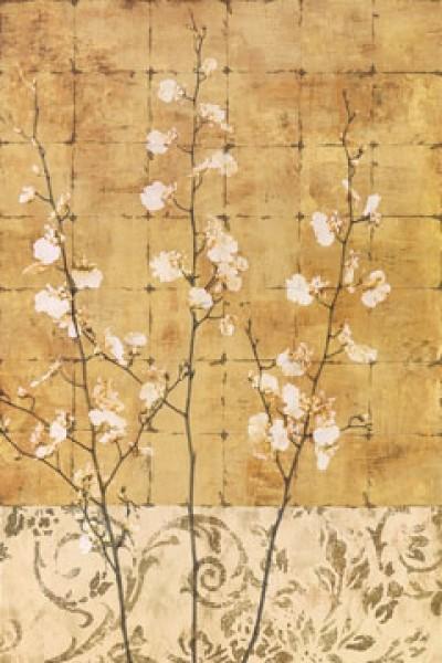 Chris Donovan, Blossoms in Gold II (Zweige, Blüten, Blütenzweige, florale Muster, Quadrate, Raster, Esszimmer, Treppenhaus, Schlafzimmer, gold/beige)