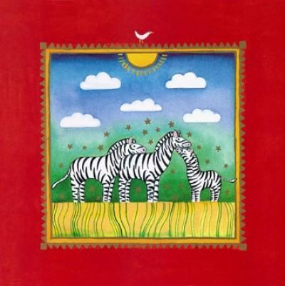 Linda Edwards, Three little zebras (Kinderwelten, Tiere, Zebras, naiv, niedlich, fröhlich, Sommer, Kinderzimmer, bunt)