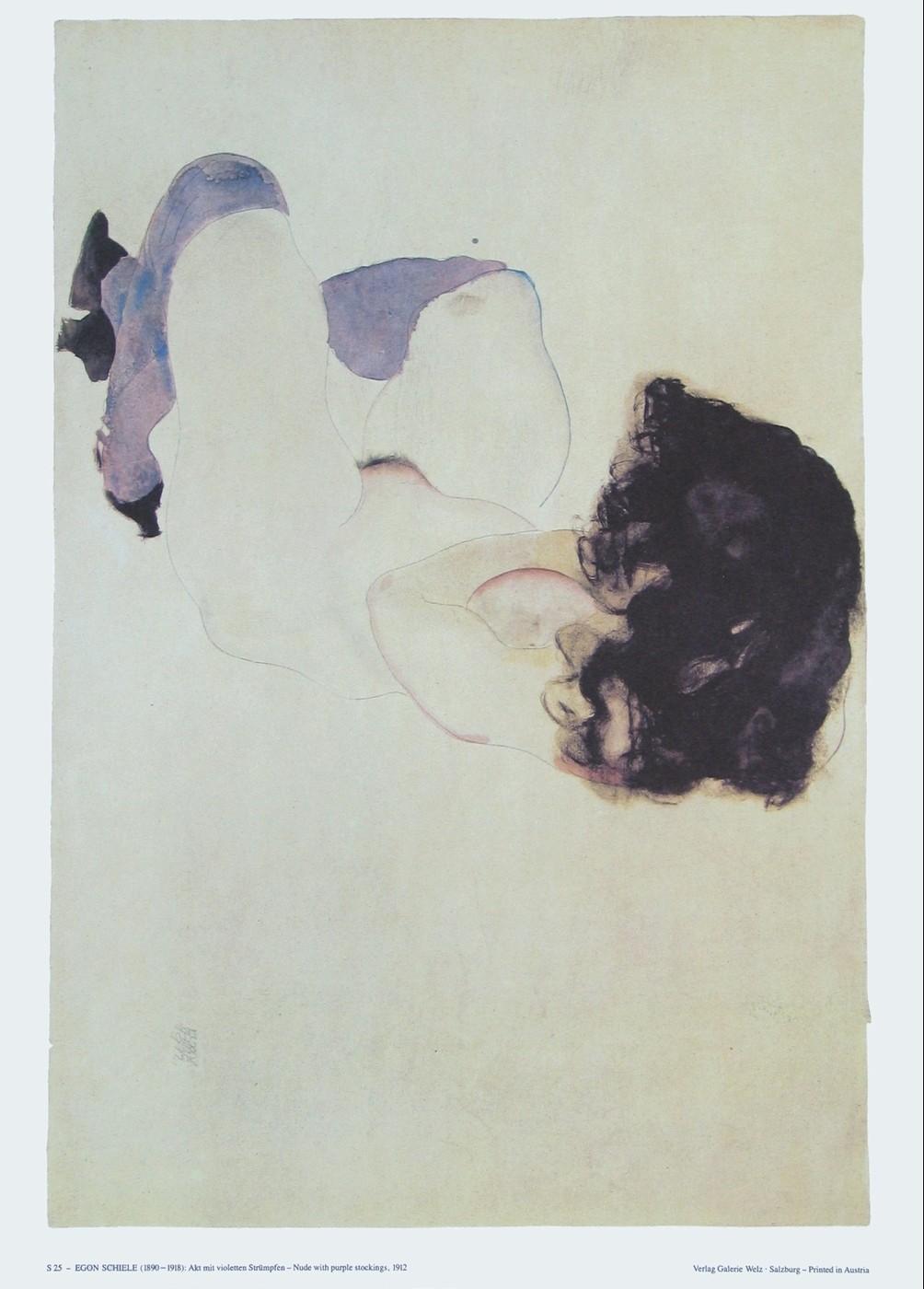 Egon Schiele, Akt mit violetten Strümpfen - 1..1912
