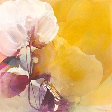 El Witt, White Blossom (Blüten, abstrakt, Aquarell, Malerei, zart, filigran, transparent, Wohnzimmer, Schlafzimmer, Wunschgröße, bunt)